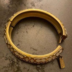 """COACH Gold/Off white 1/2"""" Miranda Signature Hinged BANGLE Bracelet"""